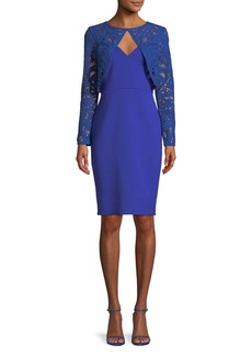 Tadashi Crochet Lace Long-Sleeve Cocktail Dress