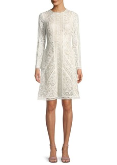 Tadashi Crotchet Lace Long-Sleeve Dress