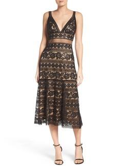 Tadashi Shoji Deep V Lace Midi Dress