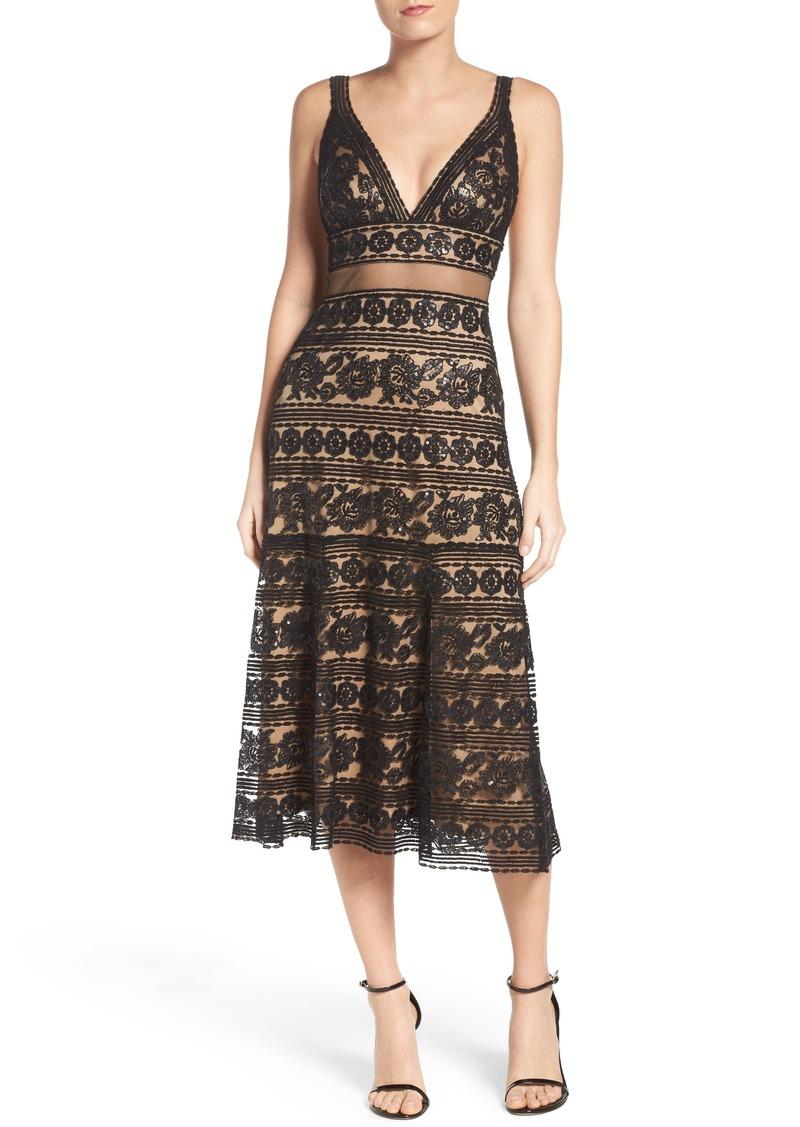 Tadashi Tadashi Shoji Deep V Lace Midi Dress   Dresses - Shop It To Me