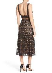 Tadashi Tadashi Shoji Deep V Lace Midi Dress Dresses