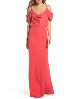 Tadashi Shoji Embellished Cold Shoulder Crepe Gown