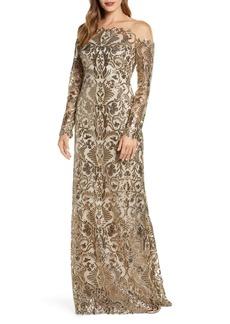 Tadashi Shoji Embellished Illusion Long Sleeve Evening Gown