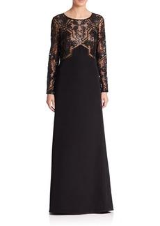 Tadashi Shoji Embellished Mesh-Bodice Gown