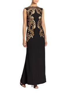 Tadashi Shoji Embellished Metallic-Lace Gown