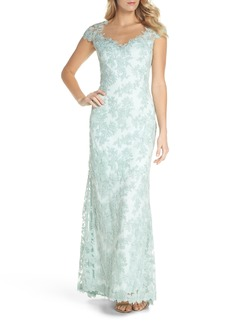 Tadashi Shoji Embroidered Corded Lace Gown (Regular & Petite)