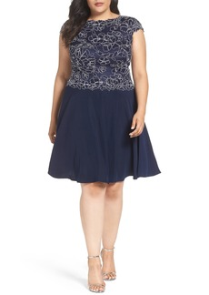 Tadashi Shoji Embroidered Crepe Fit & Flare Dress (Plus Size)