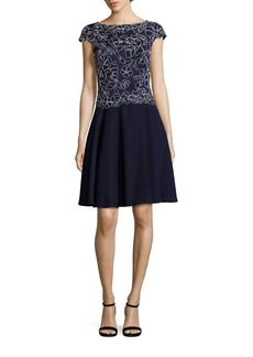 Tadashi Embroidered Flare Dress