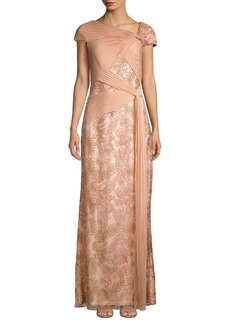 Tadashi Shoji Embroidered Floral Lace & Mesh Gown