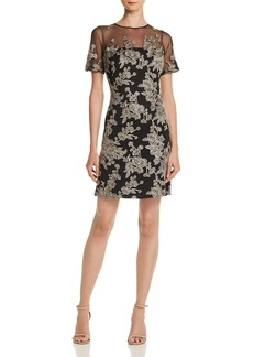Tadashi Shoji Embroidered Illusion Dress