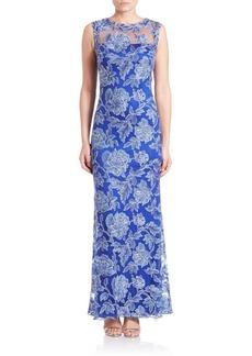 Tadashi Shoji Embroidered Illusion Gown