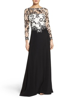 Tadashi Shoji Embroidered Lace & Crepe Gown