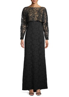 Tadashi Embroidered Lace & Crepe Popover Gown