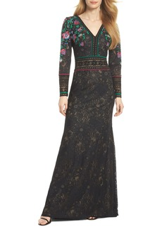 Tadashi Shoji Embroidered Lace A-Line Gown