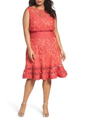 Tadashi Shoji Embroidered Lace Blouson Dress (Plus Size)