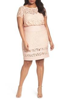 Tadashi Shoji Embroidered Lace Blouson Dress (Plus Size)