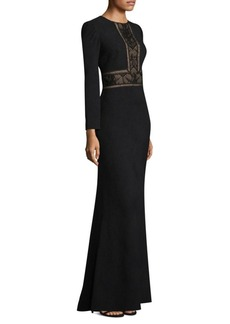 Tadashi Shoji Embroidered Lace Floor-Length Gown