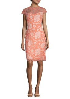 Tadashi Floral Embroidered Sheath Dress