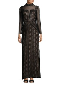 Tadashi Embroidered Laced Gown