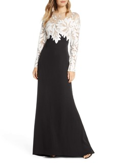 Tadashi Shoji Embroidered Long Sleeve Evening Gown