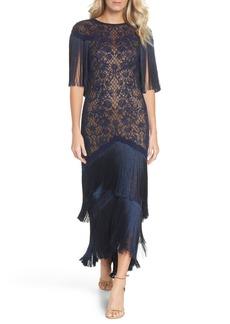Tadashi Shoji Embroidered Mesh & Fringe Gown