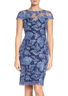 Tadashi Shoji Embroidered Mesh Sheath Dress