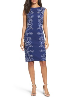 Tadashi Shoji Embroidered Neoprene Sheath Dress (Regular & Petite)