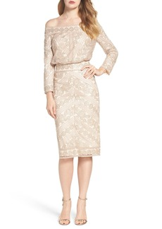Tadashi Shoji Embroidered Off the Shoulder Blouson Dress