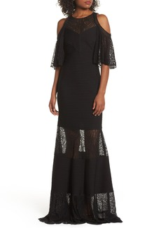 Tadashi Shoji Embroidered Pintuck Cold Shoulder Gown
