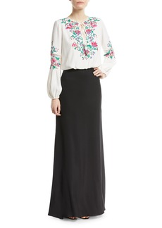 Tadashi Embroidered Self-Tie Floral Crepe Dress