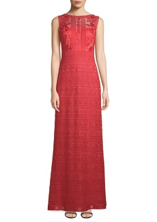 Tadashi Embroidered Sleeveless Lace Gown
