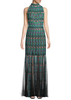 Tadashi Embroidered Sleeveless Lace Gown w/ Floral Motif