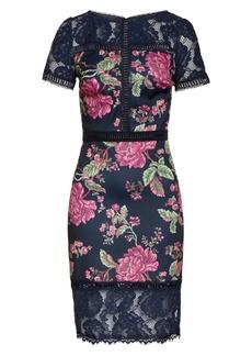 Tadashi Shoji Floral & Lace Sheath Dress