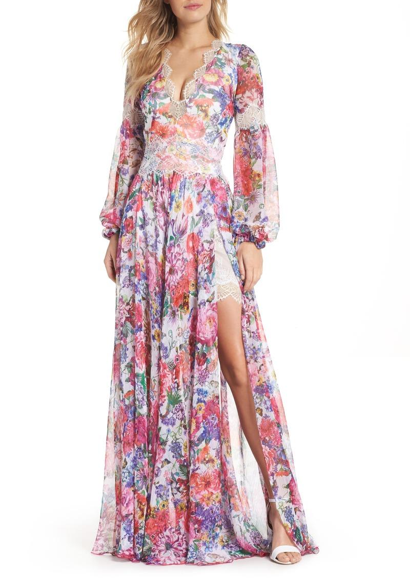 a3f22e9544a5 Tadashi Tadashi Shoji Floral Chiffon A-Line Gown