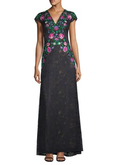 Tadashi Floral Embroidered Gown