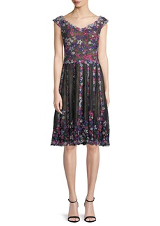 Tadashi Floral Embroidered Lace Knee-Length Cocktail Dress