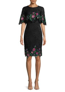 Tadashi Shoji Floral Embroidered Short-Sleeve Lace Dress