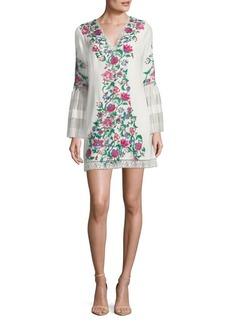 Tadashi Shoji Floral Embroidery Bell-Sleeve Shift Dress