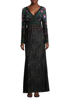Tadashi Shoji Floral Floor-Length Gown