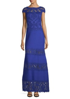Tadashi Floral Lace Cap-Sleeve Gown