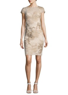 Tadashi Floral Lace Cap-Sleeve Sheath Dress
