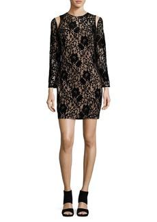 Tadashi Floral Mesh-Accented Sheath Dress
