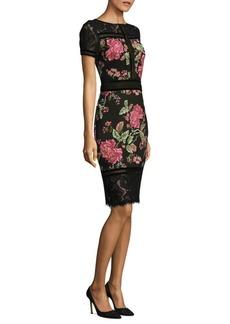Tadashi Shoji Floral Neoprene Knee-Length Dress
