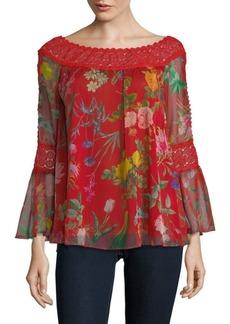 Tadashi Floral-Print Bell-Sleeve Top