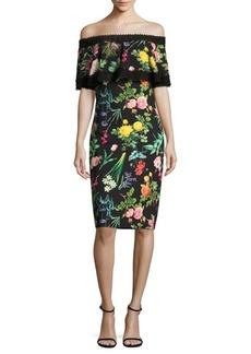 Tadashi Shoji Floral Printed Lace Trimmed Off-The-Shoulder Dress