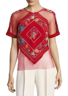 Tadashi Floral Tulle Top