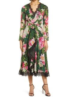 Tadashi Shoji Floral Twist Long Sleeve Midi Dress