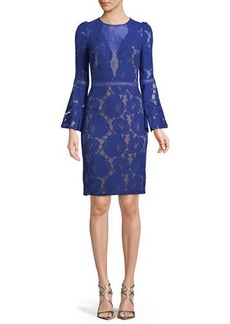 Tadashi High-Neck Bell-Sleeve Lace Cocktail Dress