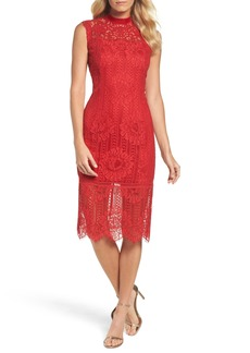 Tadashi Shoji High Neck Stripe Lace Sheath Dress