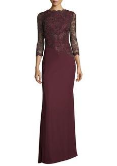Tadashi Shoji Illus Long-Sleeve Illusion Evening Gown